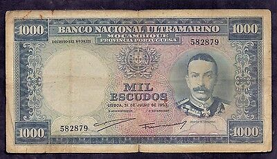 1000 Escudos From Mocembique 1953