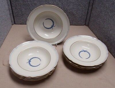 "8 Rosenthal Ivory Empire Rimmed Soup Bowls Blue Wreath 8"" 3 As Is"