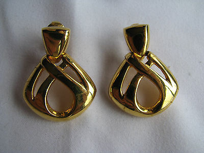 GIVENCHY Gold Tone DOOR KNOCKER STYLE EARRINGS Clip-On STUNNING RUNWAY Vintage?