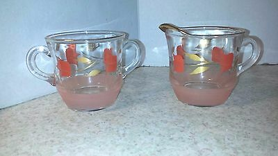 Vintage Creamer And Sugar Hand Painted Pink And Gold Clear Glass