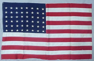 ORIGINAL WW1 / WW2 Vintage US 48 Embroidered STAR AMERICAN FLAG for WALL DISPLAY