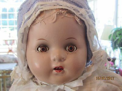 """ANTIQUE 1920s 22"""" COMPOSITION DOLL OPEN MOUTH & TEETH CLOTH DOLL ORIG. CLOTHES"""