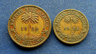 British West Africa 1938, 1 and 2 Shillings. VF. British colonial King George VI