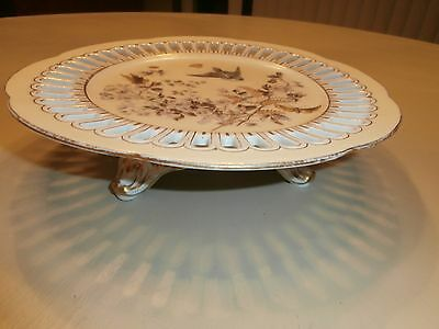 Stunning Antique Fischer & Mieg Bohemian  Footed Plate Birds Butterfly Insects