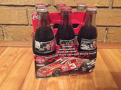 6 full COCA COLA  8-oz NASCAR bottles in Coca Cola racing carrier 4 different