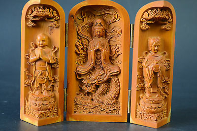 China Collectible Decor Old Wood Carve Exquiiste Buddha Theme Statue Box