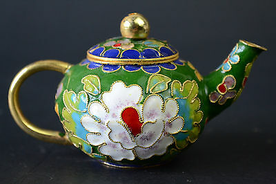 China Collectible Decor Old Cloisonne Colored Drawing Exquisite Noble Teapot