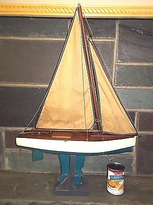Antique  Wooden Pond Yacht  Sail Boat -Weighted Keel w stand,cotton sails 19""