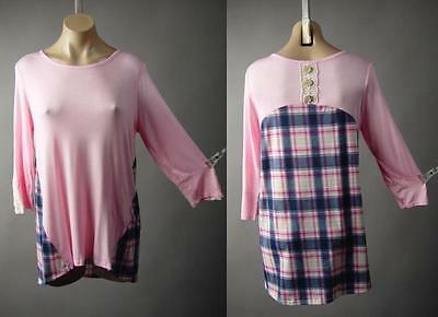 Light Pink Blue White Plaid Crochet Applique Jersey Knit Top 235 mv Shirt M L
