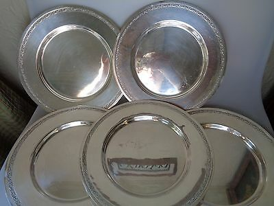 12 Silverplated Antique Chargers T&t Epns Plates Simple Elegant Taber & Tibbits