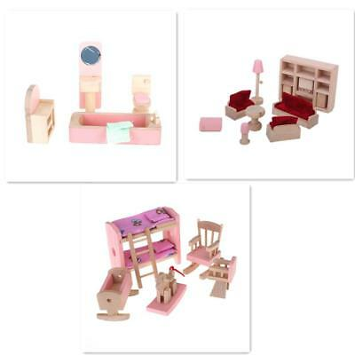 Wooden Dolls House Furniture Miniature Room Set For Kids Children Toy Gifts