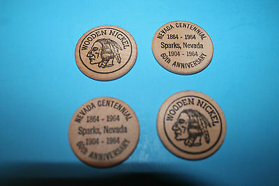 Four (4) Nevada Centennial & Sparks, Nevada 60th Anniversary Wood. Nickels