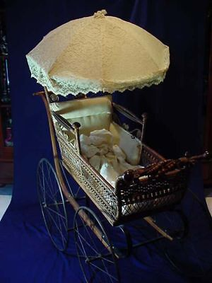 "VICTORIAN BROWN WICKER ""PRAM"" BABY CARRIAGE w/ PARASOL ORIGINAL HARDWARE"