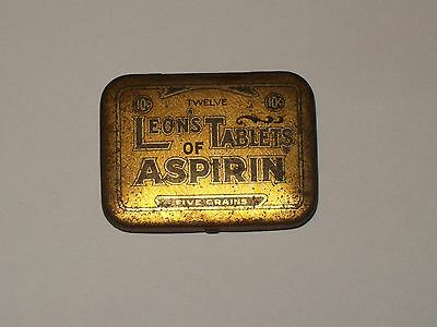 Vintage-Advertising-Medicine-Tin-LEON'S-Tablets-of-ASPIRIN-Insert-Flue-RARE-?
