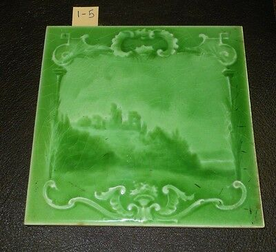 One Antique Arts and craft tile Art Nouveau Sherwin patent  6x6  1-5