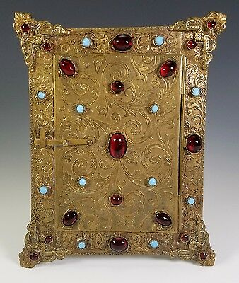 Antique French Austrian Gilt Bronze Turquoise Garnet Glass Jeweled Picture Frame