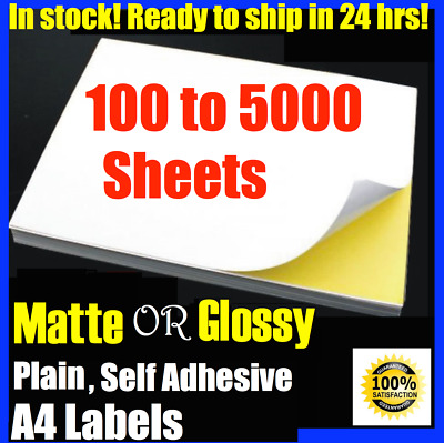 A4 Size White Self Adhesive Sticker Paper Sheet Label Laser Inkjet Print