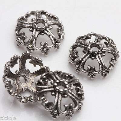 Wholesale 15Pcs Retro Style Tibetan Silver Flower Spacer Beads End Beads 12*6mm