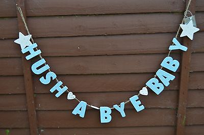 "Gisela Graham Wooden Painted Blue Dot Garland ""Hush a Bye Baby""/GIFT/ Home Decor"