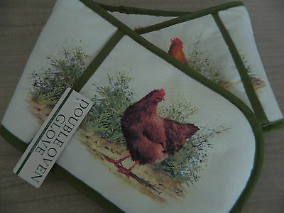 Macneil England Country Kitchen Fabric Cockerel&Hen Double Oven Glove /Gift