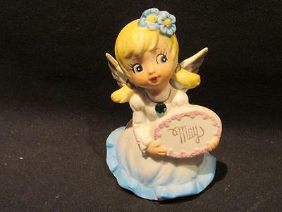 Angel Figure May Birthday By KK Made in Japan with Green Crystal & Blue Gown