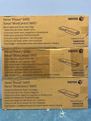 New Genuine Xerox 106R02238 & 106R02237 Meter Toner Phaser 6600 WorkCentre 6605