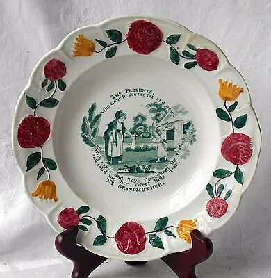 """C19Th Staffordshire Transfer Printed Plate """" The Presents """" """" My Grandmother """""""