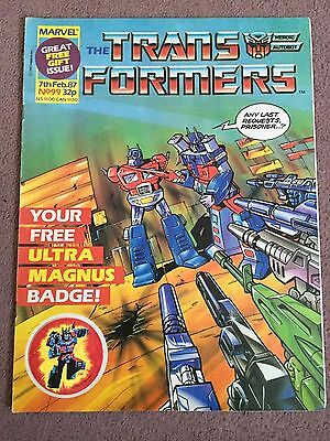 Transformers Comic Marvel Uk #99 With Free Gift Ultra Magnus Badge Attached