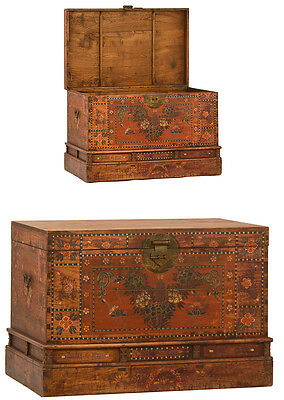 Vintage Hand Painted Chinese Art Wood Opera Trunk/Chest/Box 41'' x 27''H