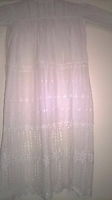 Antique Christening Gown/night Gown With A Deep Broiderie Anglaise