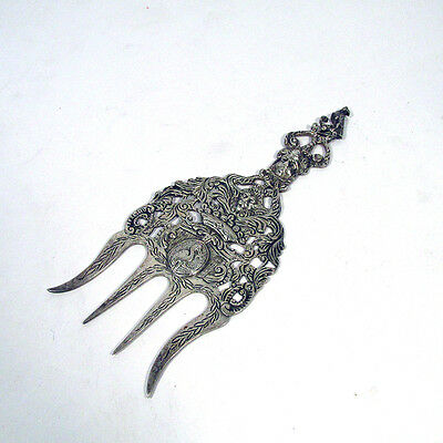 Ornate Antique Dutch Sterling Silver Figural Repousse Serving Fork