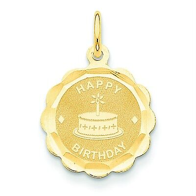 14k Yellow Gold Polished Faceted Happy Birthday Charm