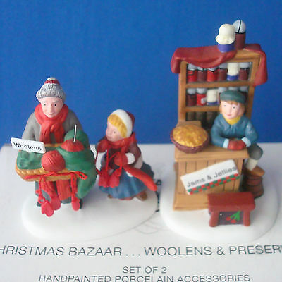 Dept 56 Christmas Bazaar Woolens & Preserves Dickens 56595 Village set of 2 acc