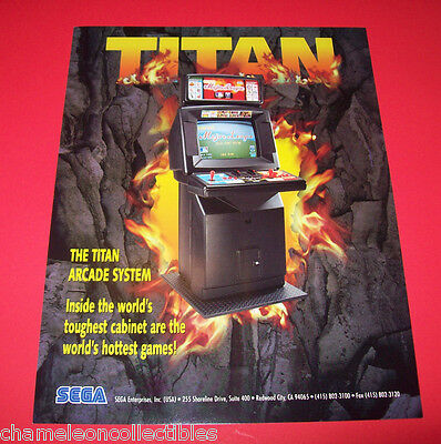 Sega TITAN SYSTEM 1995 Original NOS Video Arcade Game Promo Sales Flyer Art Adv.