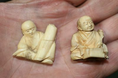 (2) Antique Japanese Carved Netsuke