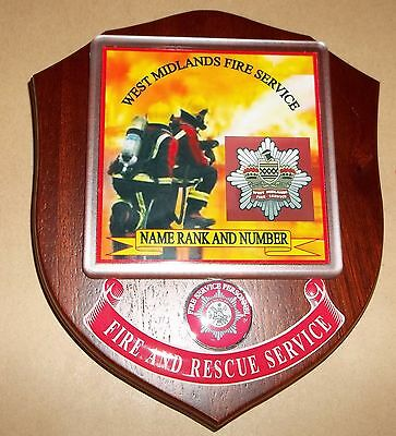 West Midlands Fire Service wall plaque personalised free of charge.