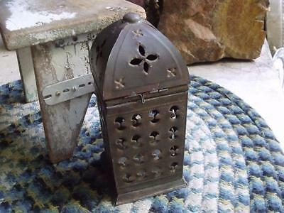 Old Primitive Vintage Hand Punched Tin Candle Lantern GREAT Patina !