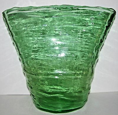 Large 1920s Consolidated Glass Catalonian Fan Vase Canary Green