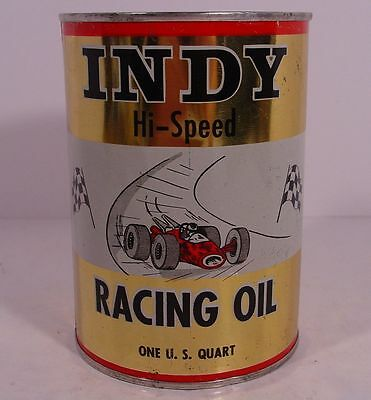 Graphic INDY HI-SPEED RACING OIL ~Indianapolis, Indiana~ QUART Motor Oil Tin Can
