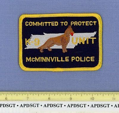McMINNVILLE K-9 TENNESSEE TN Sheriff Police Patch K9 DOGS GERMAN SHEPHERD
