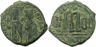 FORVM Byzantine Follis Focas and Leontia 607-608 AD Centered Green Patina VF