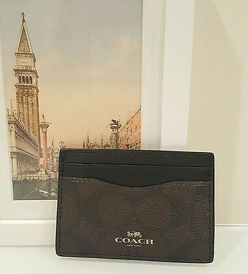 NWT Coach Signature Canvas Card Case/Holder Brown/Black - F63279 MSRP $65