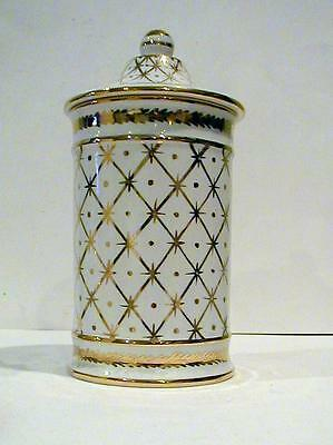 Pretty Vintage Italian Porcelain Gold Decorated Jar Original Stamp