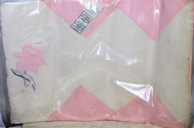 New Vintage Leacock Linen Placemat with flower Set & pink Napkins 8pc Unused