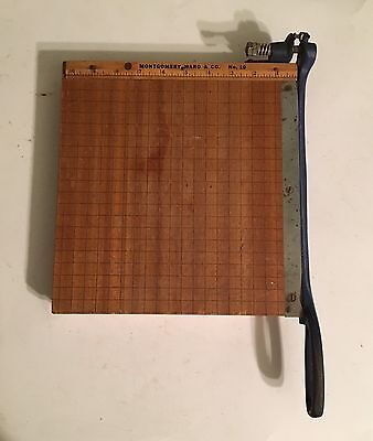 "Vintage No. 10 MONTGOMERY WARD & CO. 10"" Paper Cutter Wood & Metal .5"" Grid"