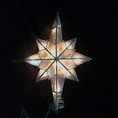 """Christmas Star Tree Topper Lighted Plastic Stained Glass Look 11"""""""