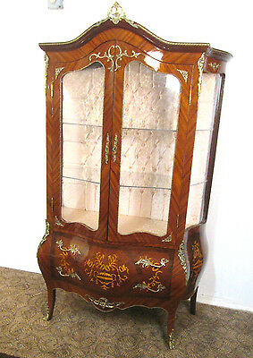 55988  French Style Louis Xv China Curio Cabinet With Serpentine Glass