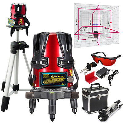 8 Line Automatic Self Leveling Rotary Laser Level Beam Meter Measure Tripod