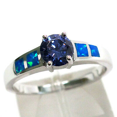 Charming 1 Ct Tanzanite Blue Opal 925 Sterling Silver Ring Size 10