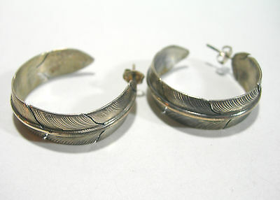 Large Vintage Sterling Silver Artistic Studio Feather Hoop Earrings Pierced